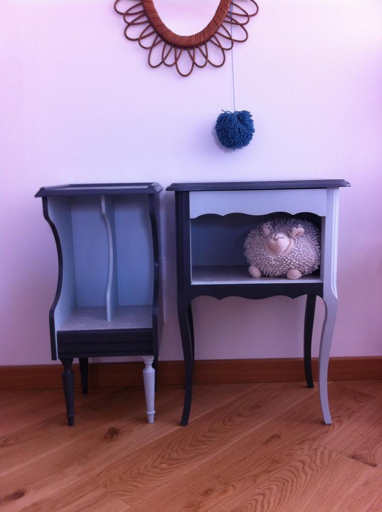 Paire de chevets vintages «lili-blue»