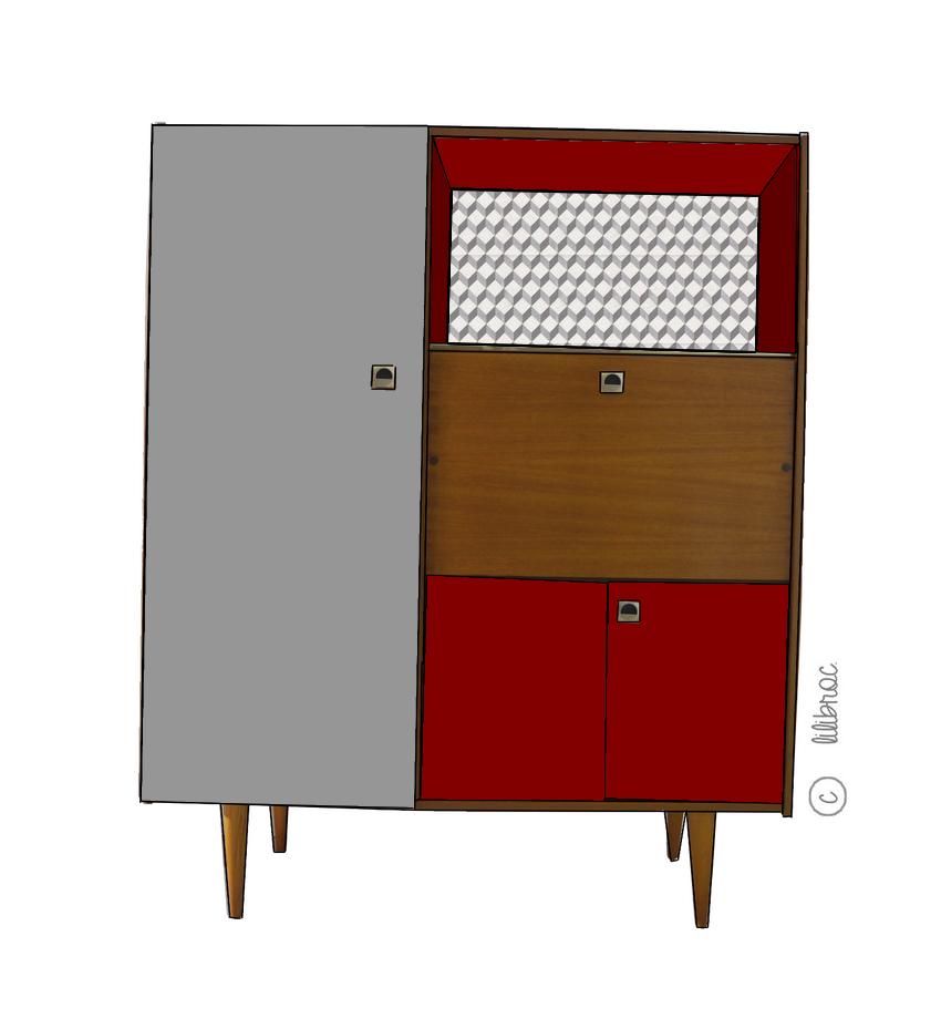 Secrétaire armoire vintage «Eugène» croquis de relooking