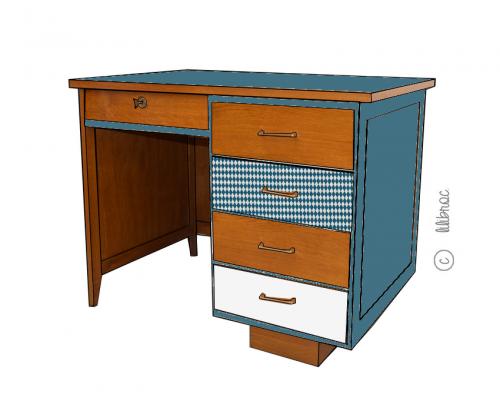 Bureau vintage Annabele croquis 4