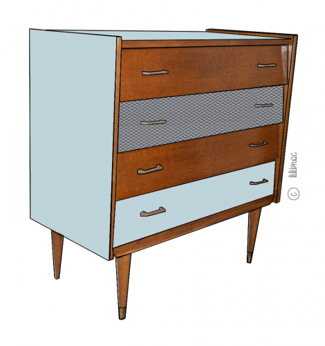 commode vintage s raphine croquis de relooking par lilibroc. Black Bedroom Furniture Sets. Home Design Ideas