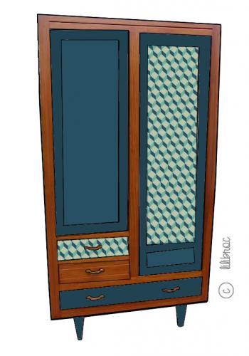 Armoire vintage Charlotte Croquis de relooking 3