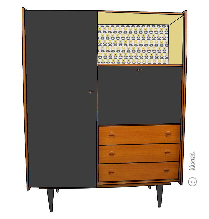 armoire secr taire vintage achille croquis de relooking. Black Bedroom Furniture Sets. Home Design Ideas