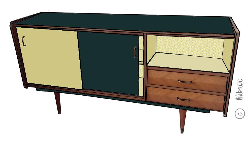 buffet vintage gis le croquis de relooking lilibroc. Black Bedroom Furniture Sets. Home Design Ideas