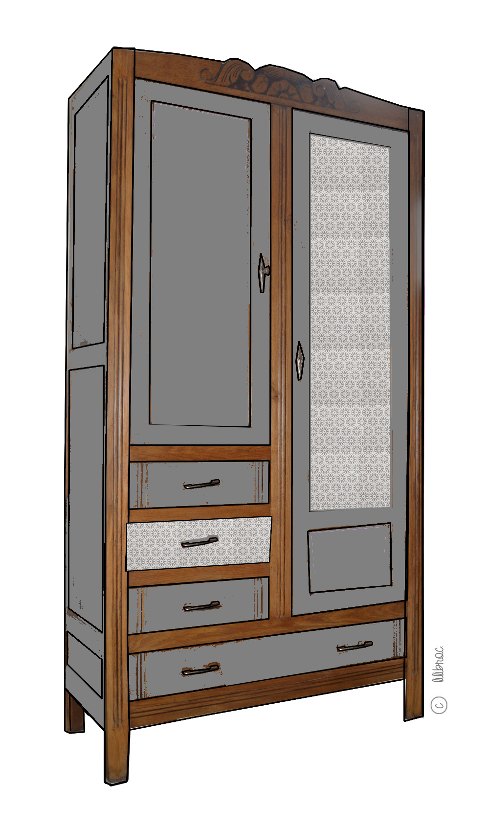 armoire vintage ma lle croquis de relooking lilibroc. Black Bedroom Furniture Sets. Home Design Ideas