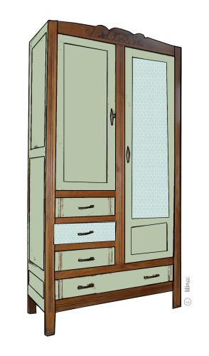 armoire vintage Maëlle croquis de relooking 3