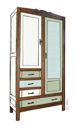 armoire vintage Maëlle croquis de relooking 4