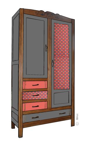 armoire vintage Maëlle croquis de relooking 5