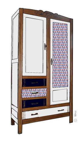 armoire vintage Maëlle croquis de relooking 7