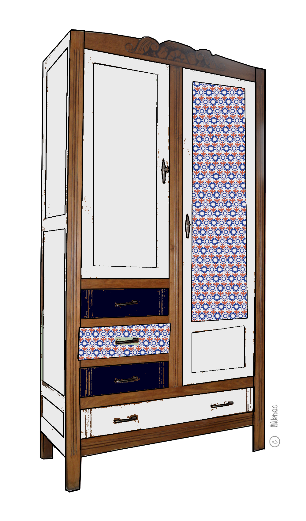 Armoire vintage ma lle croquis de relooking lilibroc - Relooking armoire ...