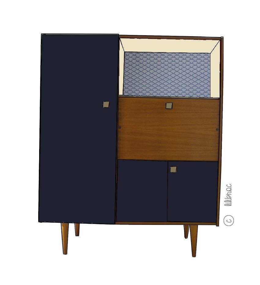 secr taire vintage eug nie croquis de relooking lilibroc. Black Bedroom Furniture Sets. Home Design Ideas