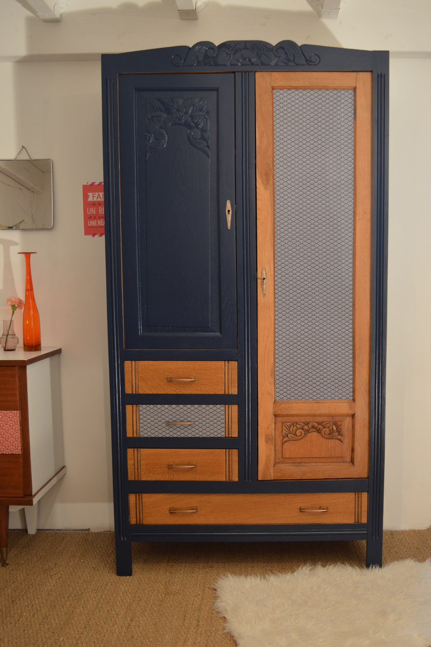 armoire vintage ma lle relooking de meubles lilibroc. Black Bedroom Furniture Sets. Home Design Ideas
