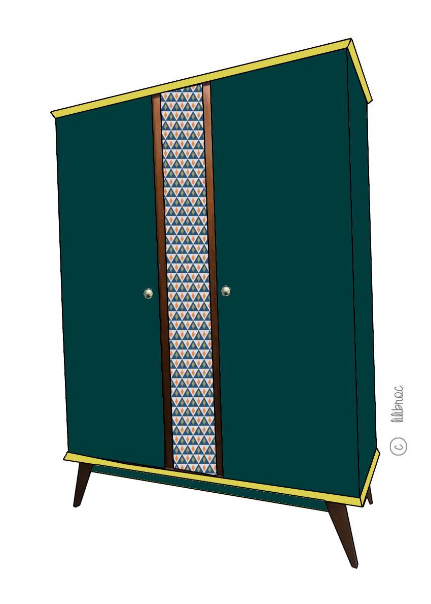 Armoire vintage Zélie – Croquis de relooking