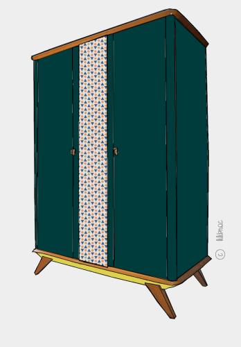 Armoire vintage Léontine – Croquis de relooking