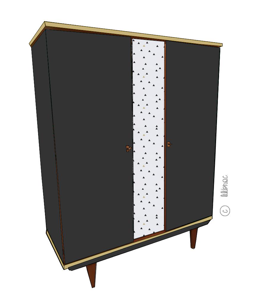 Armoire vintage Oscar – Croquis de relooking