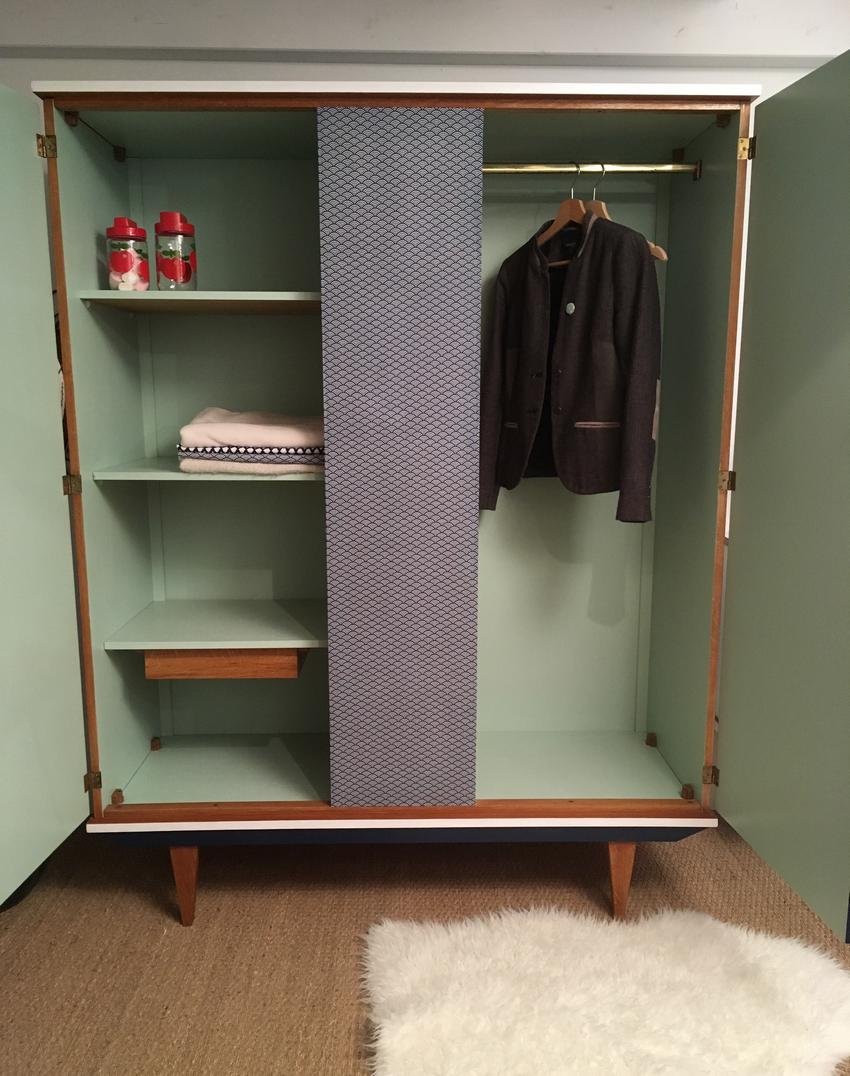 Armoire vintage oscar relooking de meubles vintage - Relooking armoire ...