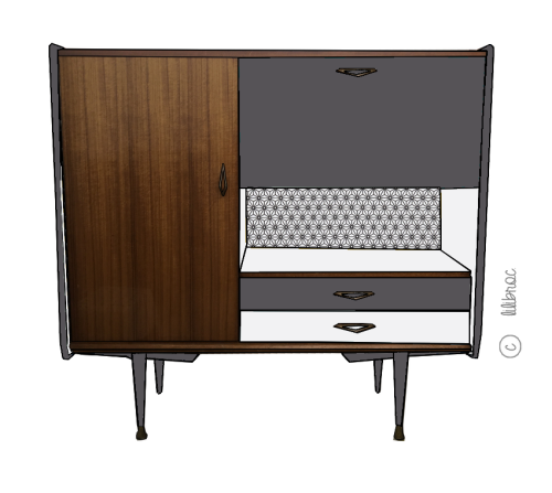 Buffet vintage Théophile – Croquis de relooking