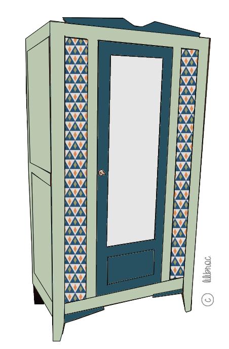 Armoire vintage Eliott – Croquis de Relooking