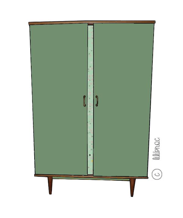 Armoire vintage cannelle croquis de relooking par lilibroc - Relooking armoire ...