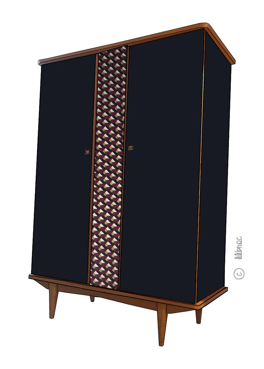 Armoire vintage pernelle croquis de relooking par - Relooking armoire ...