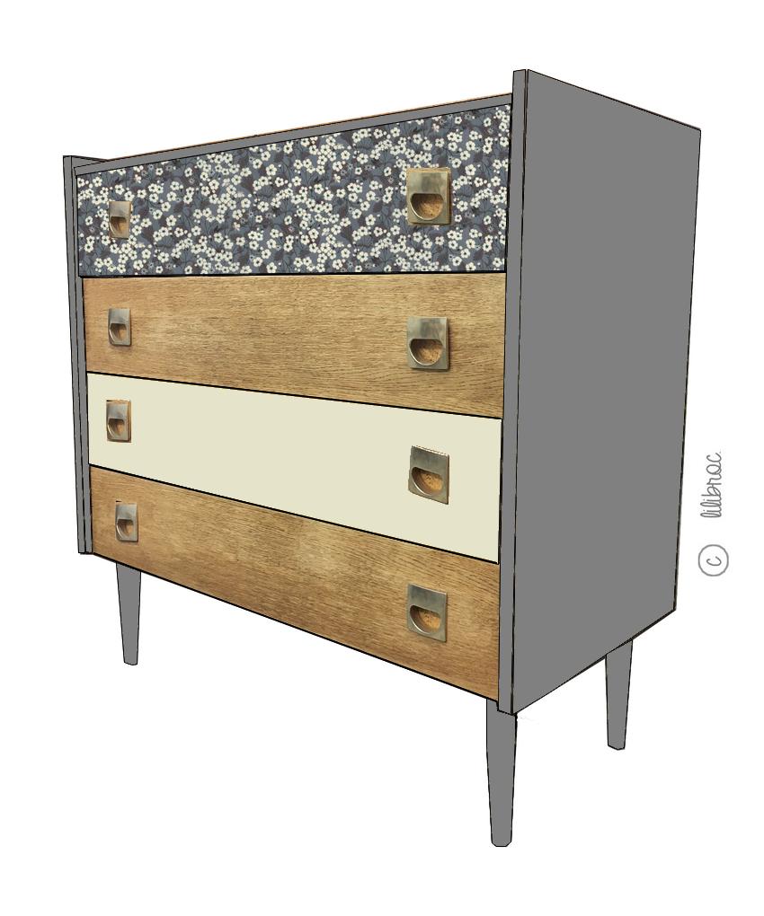 commode vintage louison croquis de relooking meubles vintage nantes. Black Bedroom Furniture Sets. Home Design Ideas