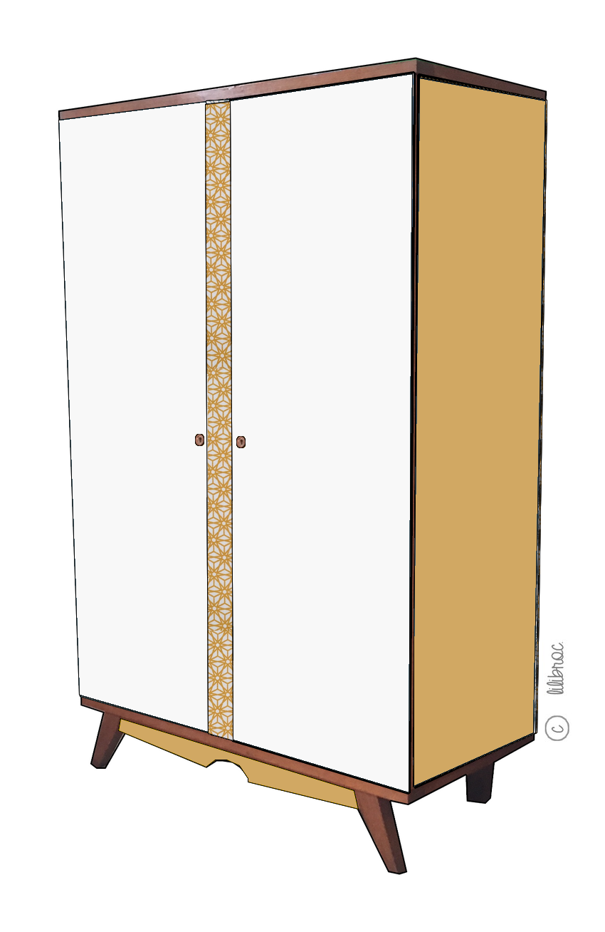 armoire vintage elisa restauration de meubles vintage nantes. Black Bedroom Furniture Sets. Home Design Ideas