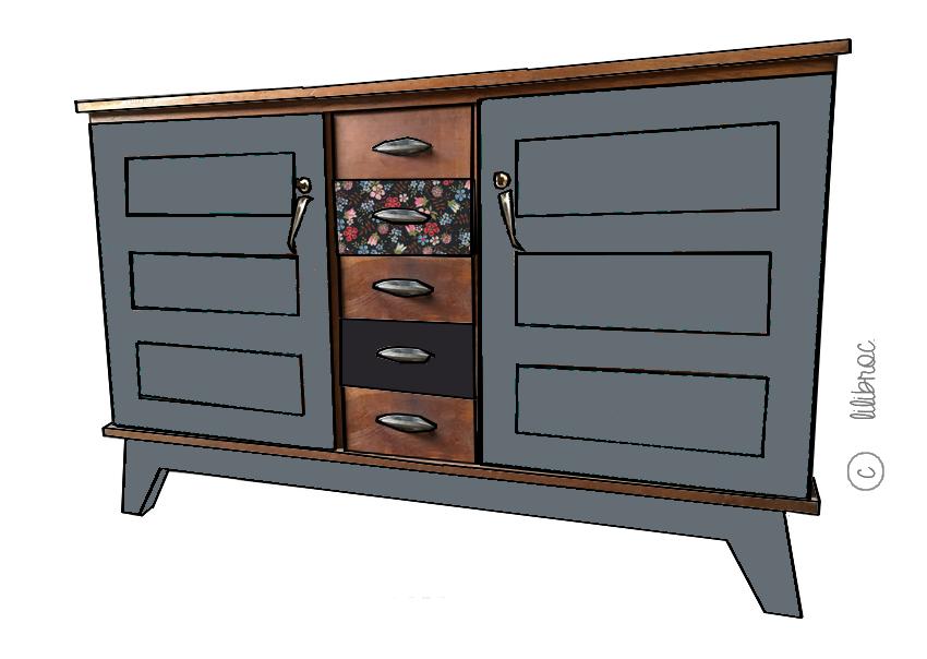 buffet vintage malo croquis de relooking restauration de meubles nantes. Black Bedroom Furniture Sets. Home Design Ideas
