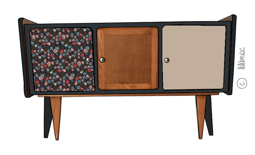 meuble tv vintage gaspard meuble vintage enti rement personnalisable. Black Bedroom Furniture Sets. Home Design Ideas