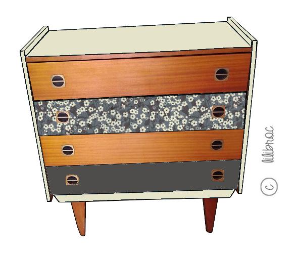 Commode vintage Marinette – Croquis de relooking