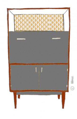 secrétaire vintage céléstin croquis 2