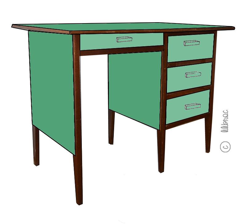 Bureau vintage «Anémone» Croquis de relooking