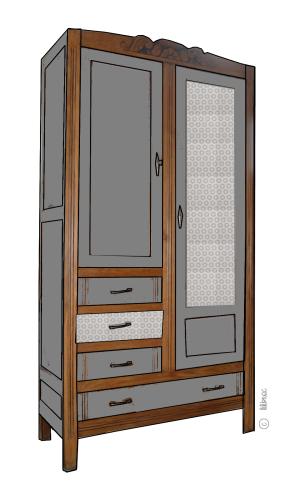 armoire vintage Maëlle croquis de relooking 2