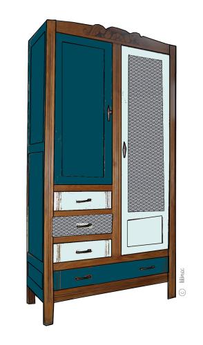 armoire vintage Maëlle croquis de relooking 9