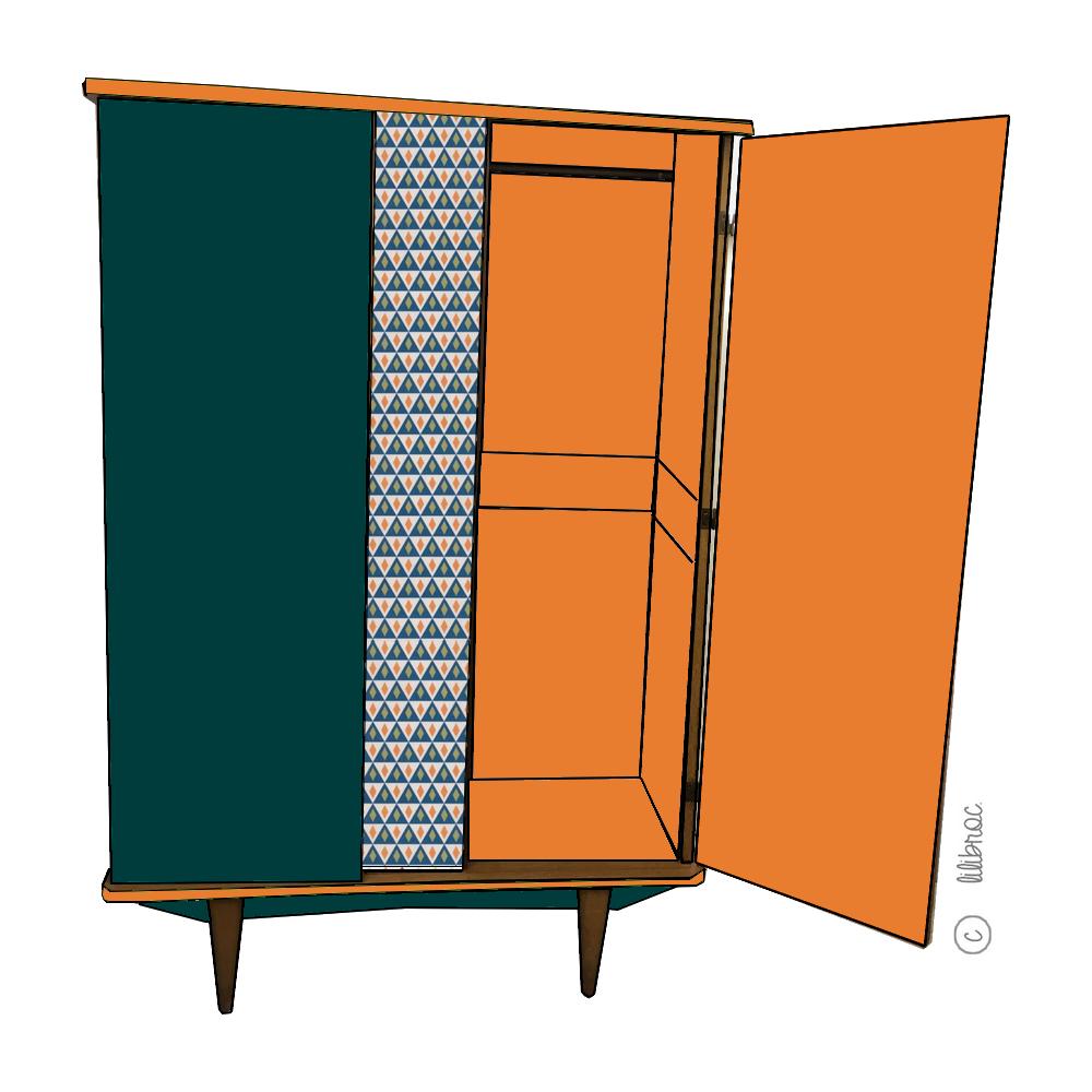 Armoire vintage Louise – Croquis de relooking