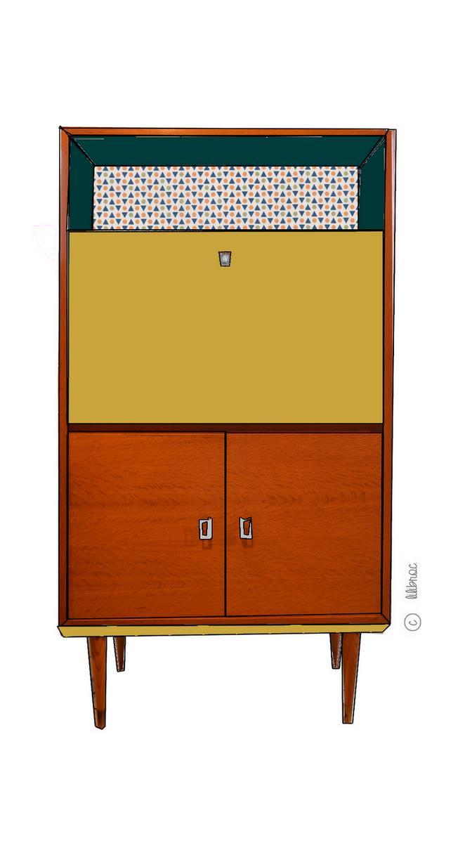 Secrétaire vintage Marielle – Croquis de relooking