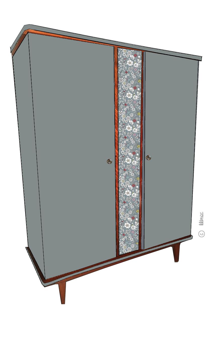 Armoire vintage Anatole – Croquis de relooking