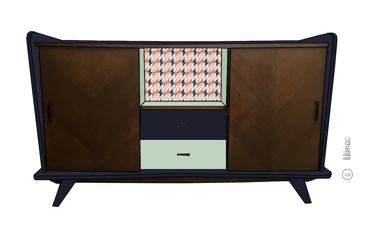 Buffet vintage Ferdinand – Croquis de relooking