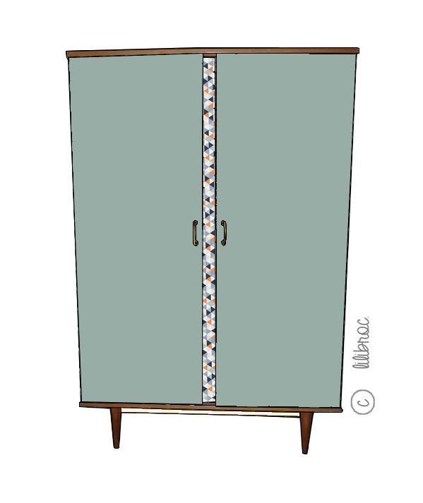 Armoire vintage Cannelle – Croquis de relooking