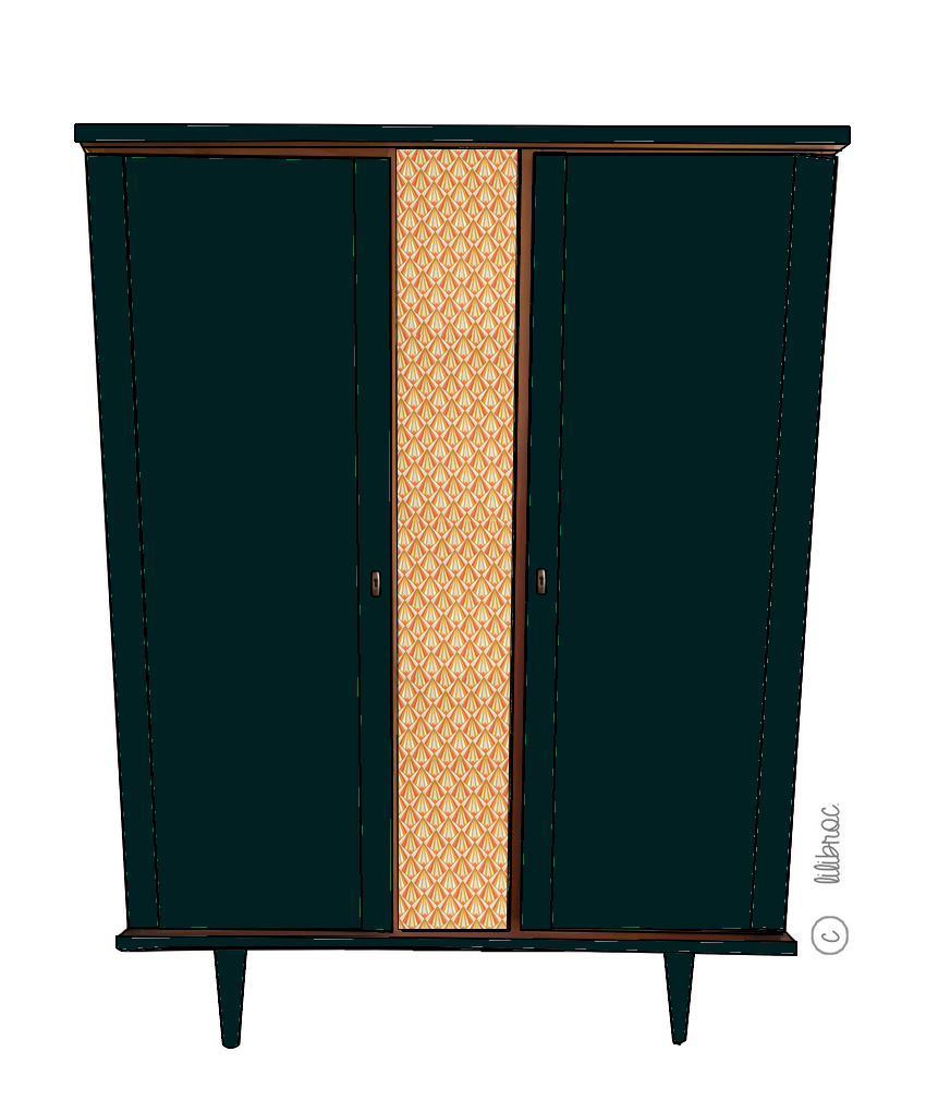 Armoire vintage Janelle – Croquis de relooking