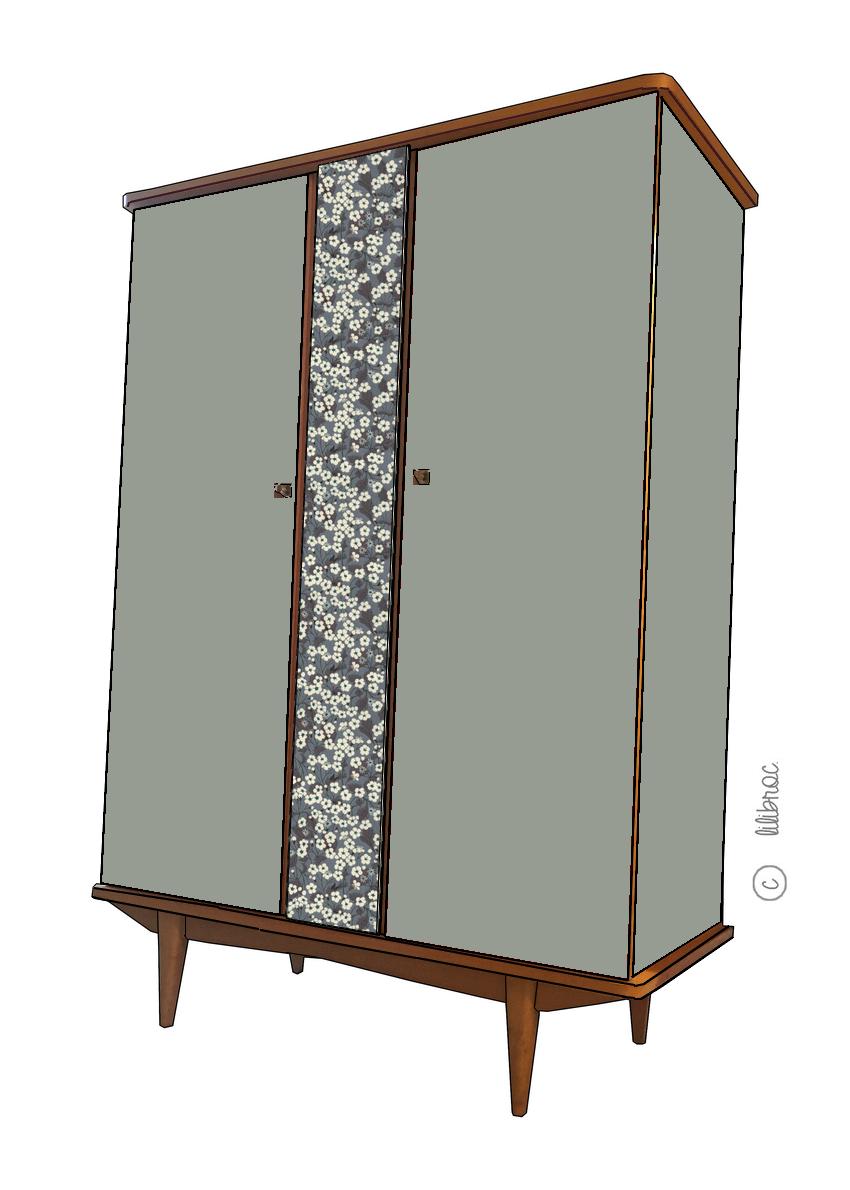 Armoire vintage Pernelle croquis de relooking