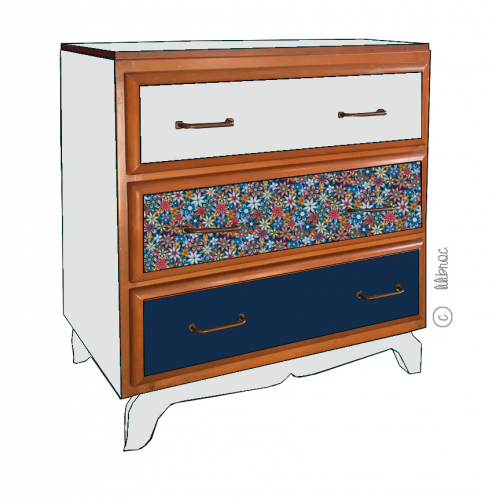 commode vintage Louisa croquis 5