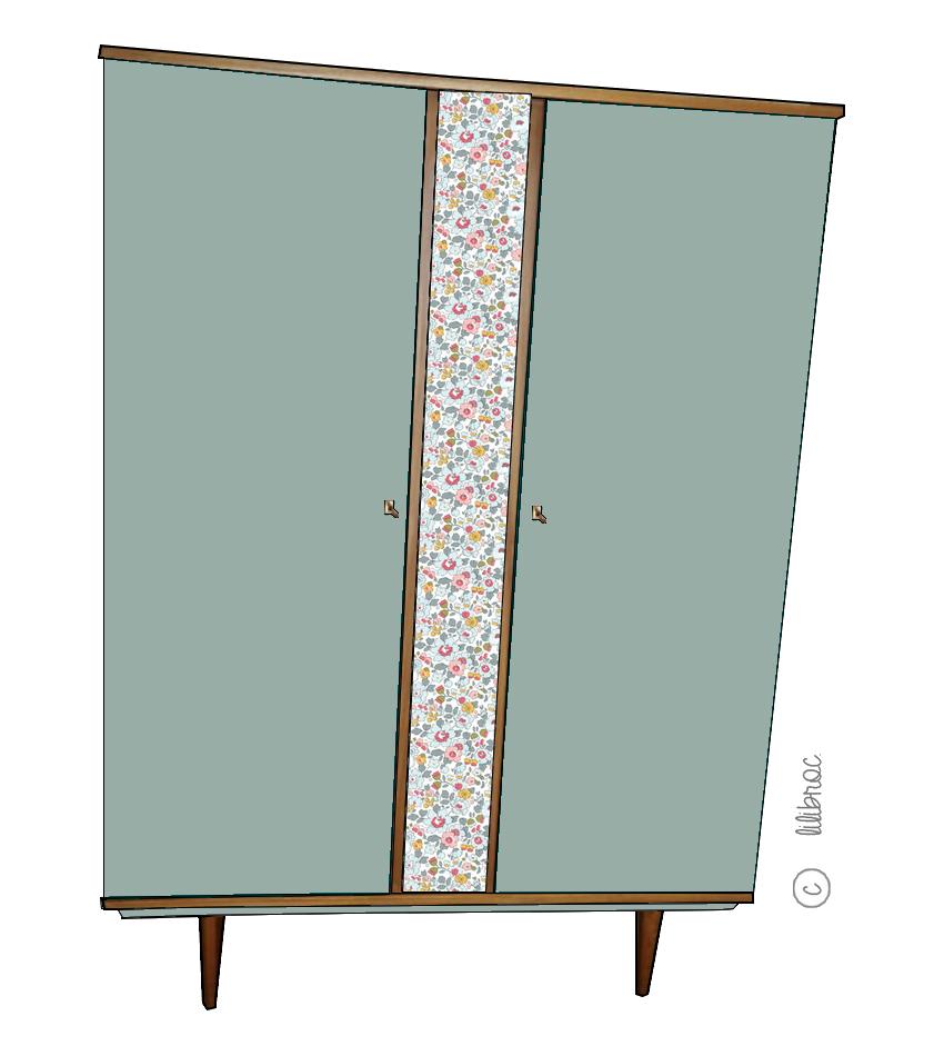 Armoire vintage Lila – Croquis de relooking