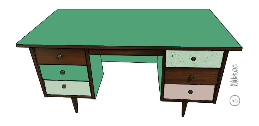 Bureau vintage Raoul – Croquis de relooking