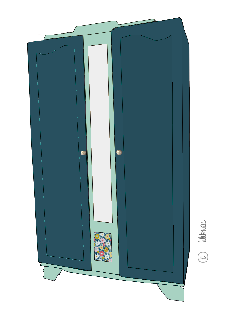 Armoire vintage Betty – Croquis de Relooking