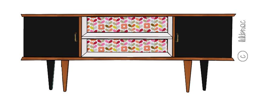 Meuble TV vintage Clovis – Croquis de relooking