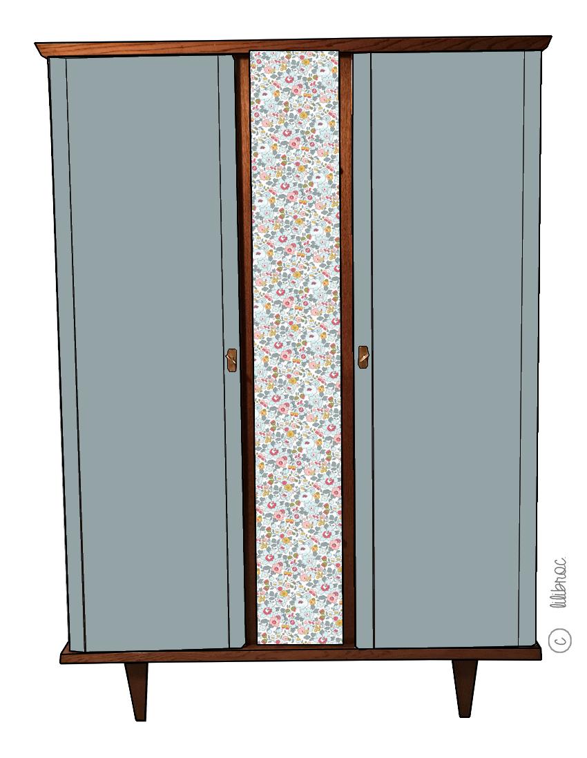 Armoire vintage Jade – Croquis de relooking