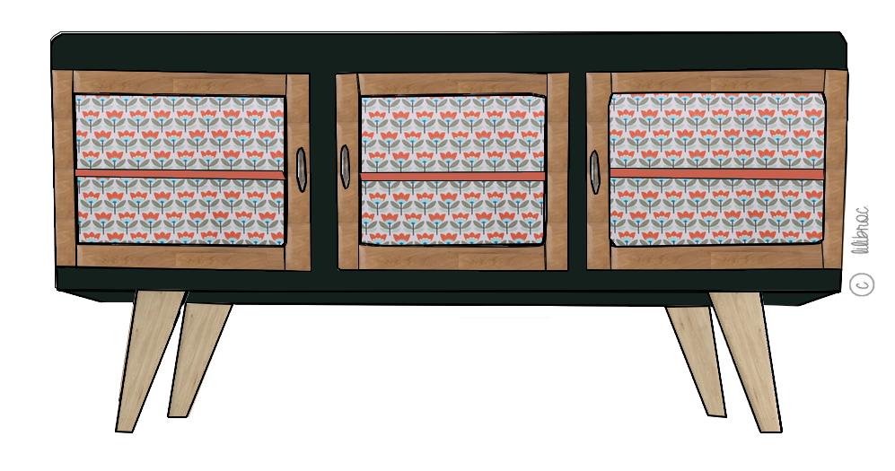 Meuble TV vintage Joseph – Croquis de relooking